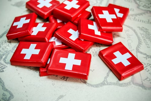 Swiss chocolate bars in swiss flag package.