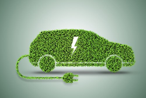 green electric car.