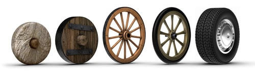 evolution of the wheel starting from a stone wheel and ending with a steel belted radial tire.