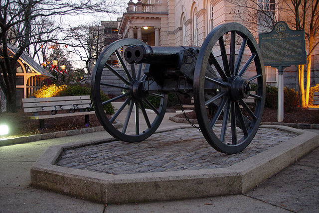 Double-barreled cannon in Athens, Georgia.