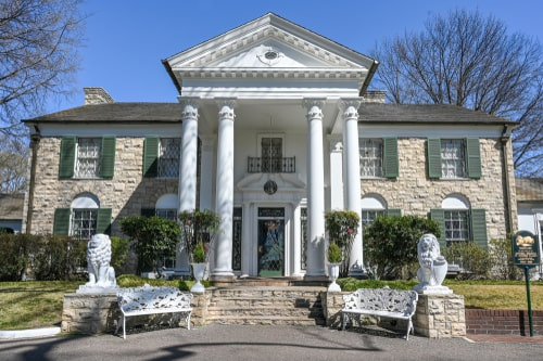 Graceland in Memphis. The mansion was built in 1939 but later bought by Elvis Presley who lived here from 1957-1977.