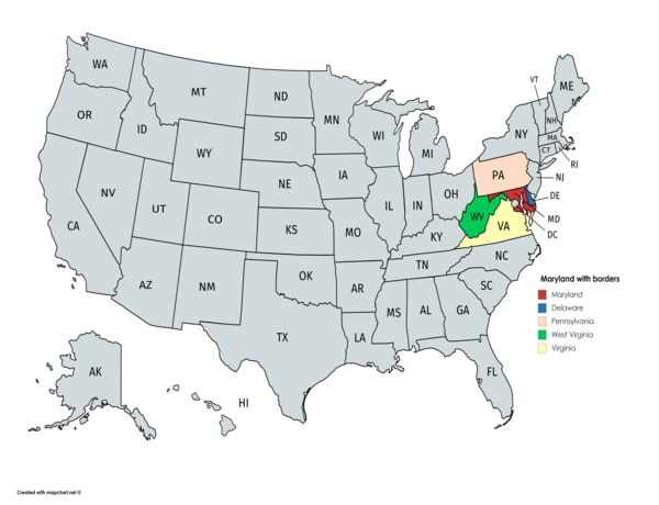 Maryland on the map with bordering states.